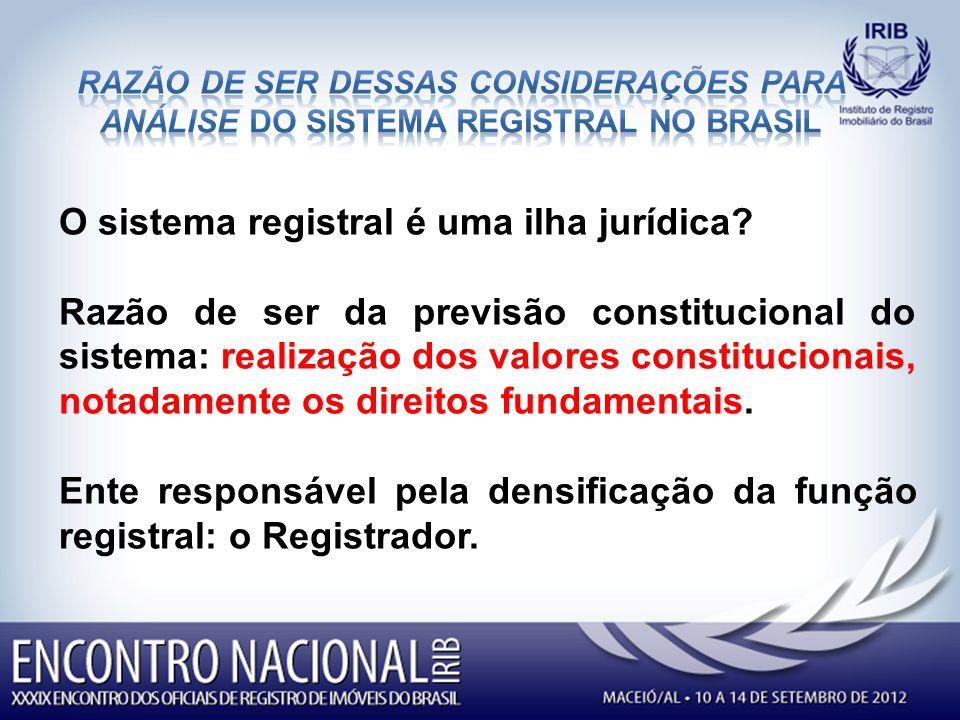 O sistema registral é uma ilha jurídica.