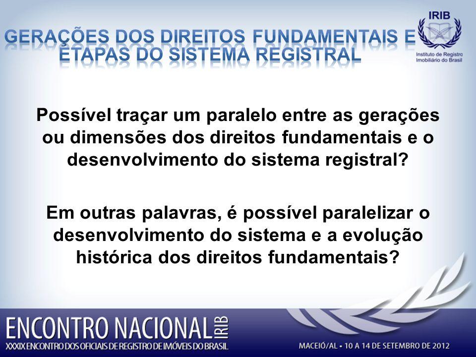 Possível traçar um paralelo entre as gerações ou dimensões dos direitos fundamentais e o desenvolvimento do sistema registral.