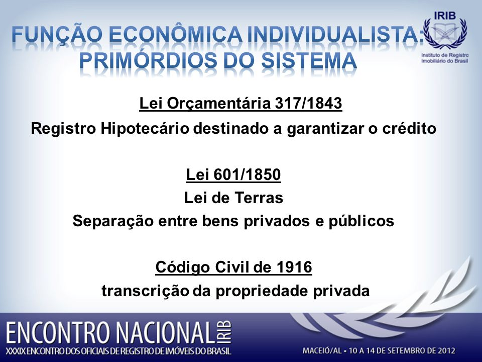 Lei Orçamentária 317/1843 Registro Hipotecário destinado a garantizar o crédito Lei 601/1850 Lei de Terras Separação entre bens privados e públicos Código Civil de 1916 transcrição da propriedade privada