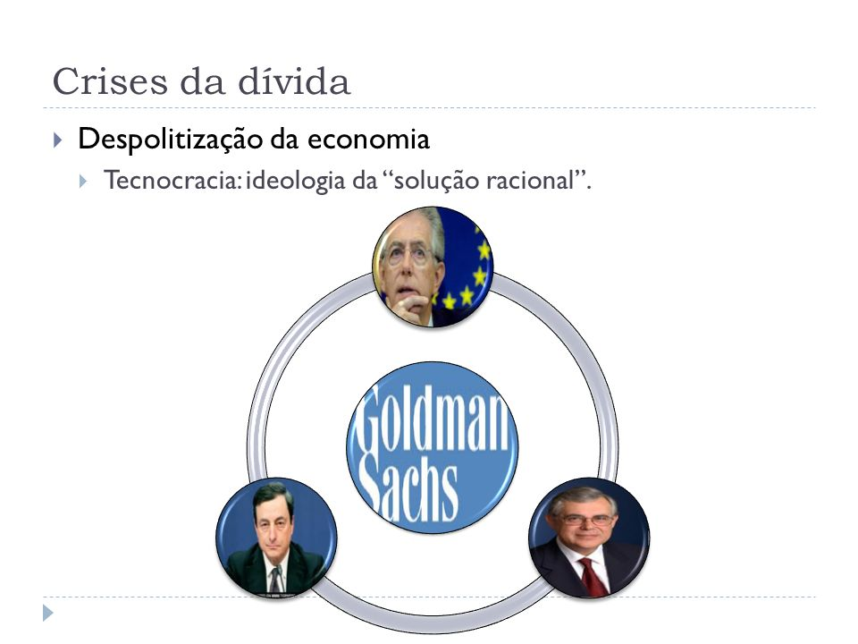 Crises da dívida Despolitização da economia Tecnocracia: ideologia da solução racional.