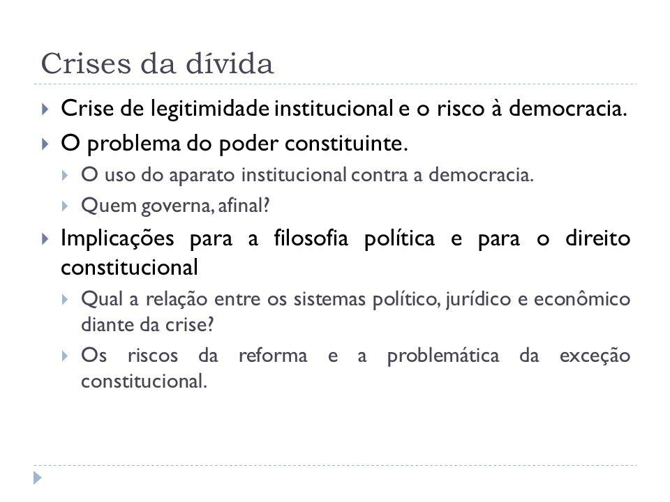 Crises da dívida Crise de legitimidade institucional e o risco à democracia. O problema do poder constituinte. O uso do aparato institucional contra a