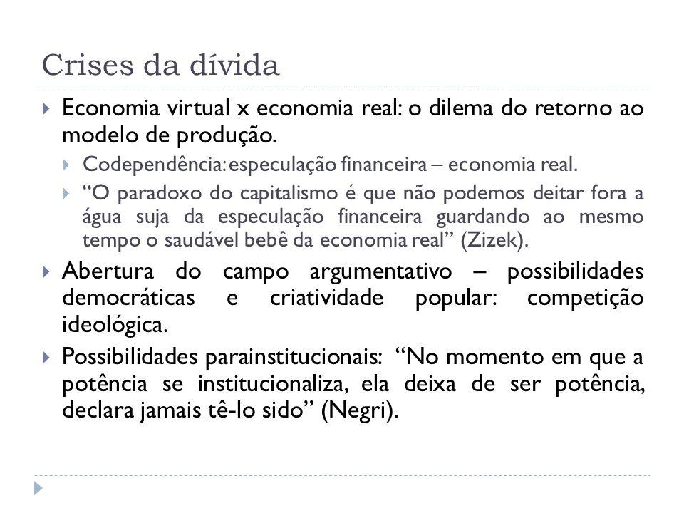 Crises da dívida Economia virtual x economia real: o dilema do retorno ao modelo de produção. Codependência: especulação financeira – economia real. O