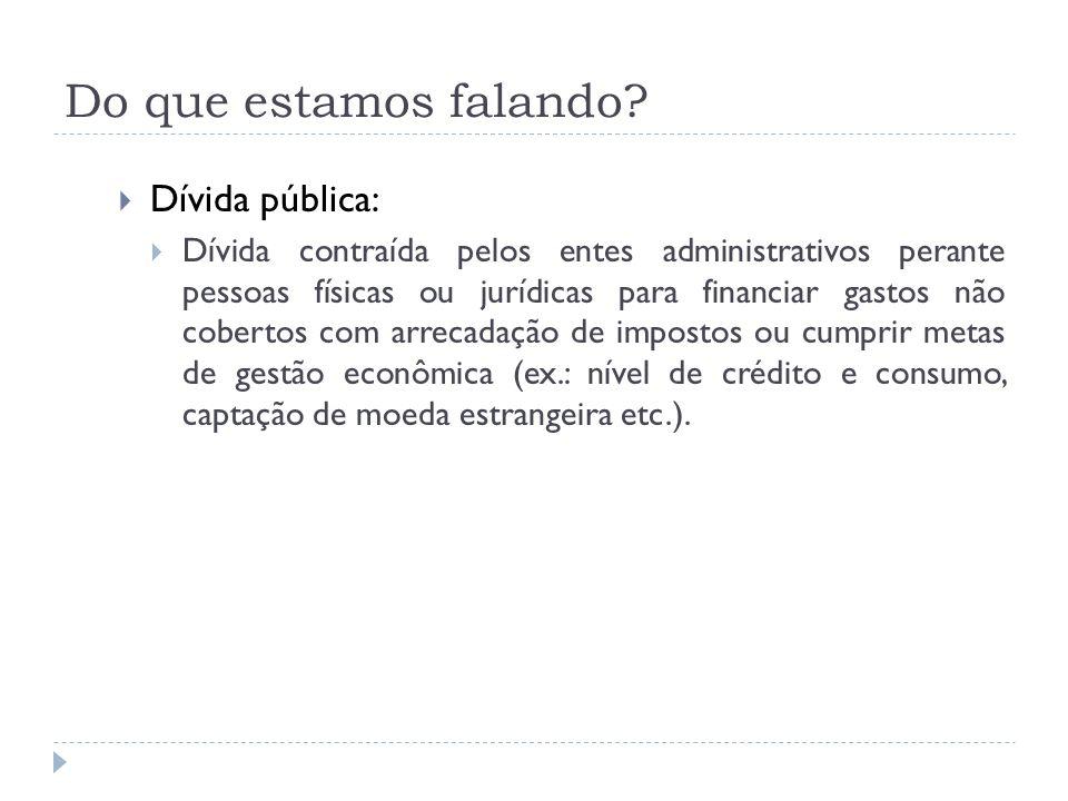 Do que estamos falando? Dívida pública: Dívida contraída pelos entes administrativos perante pessoas físicas ou jurídicas para financiar gastos não co