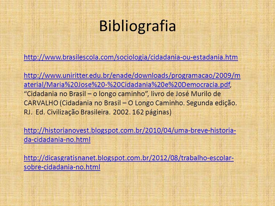 Bibliografia http://www.brasilescola.com/sociologia/cidadania-ou-estadania.htm http://www.uniritter.edu.br/enade/downloads/programacao/2009/m aterial/
