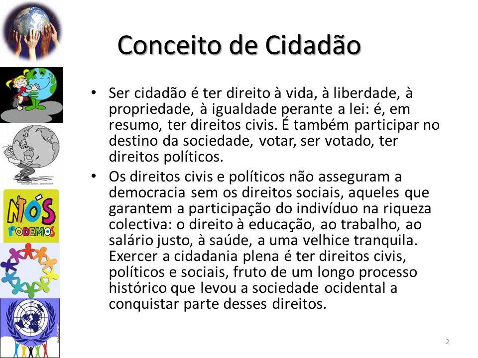 Conceito de Cidadão Ser cidadão é ter direito à vida, à liberdade, à propriedade, à igualdade perante a lei: é, em resumo, ter direitos civis. É també