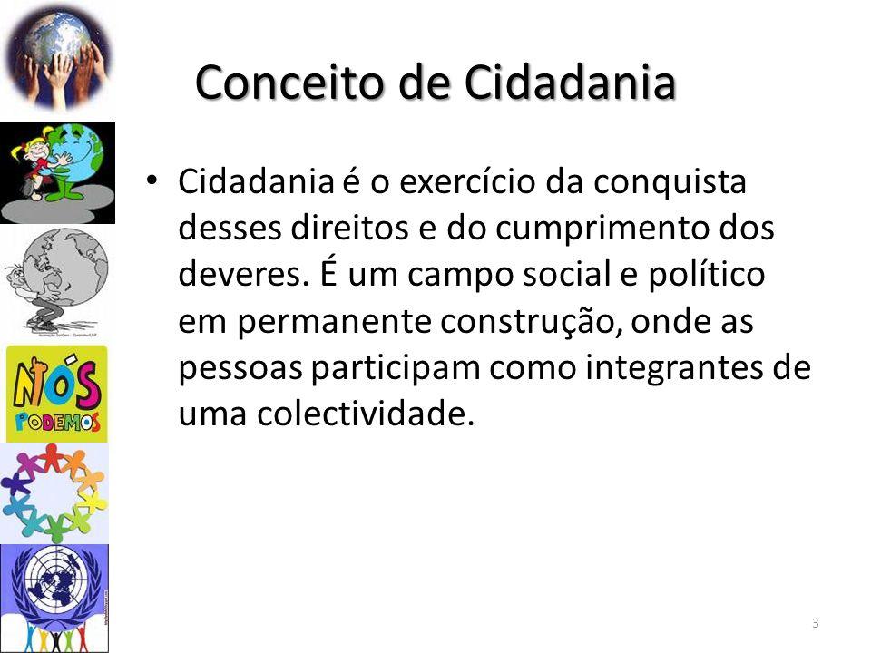 Conceito de Cidadania Cidadania é o exercício da conquista desses direitos e do cumprimento dos deveres.