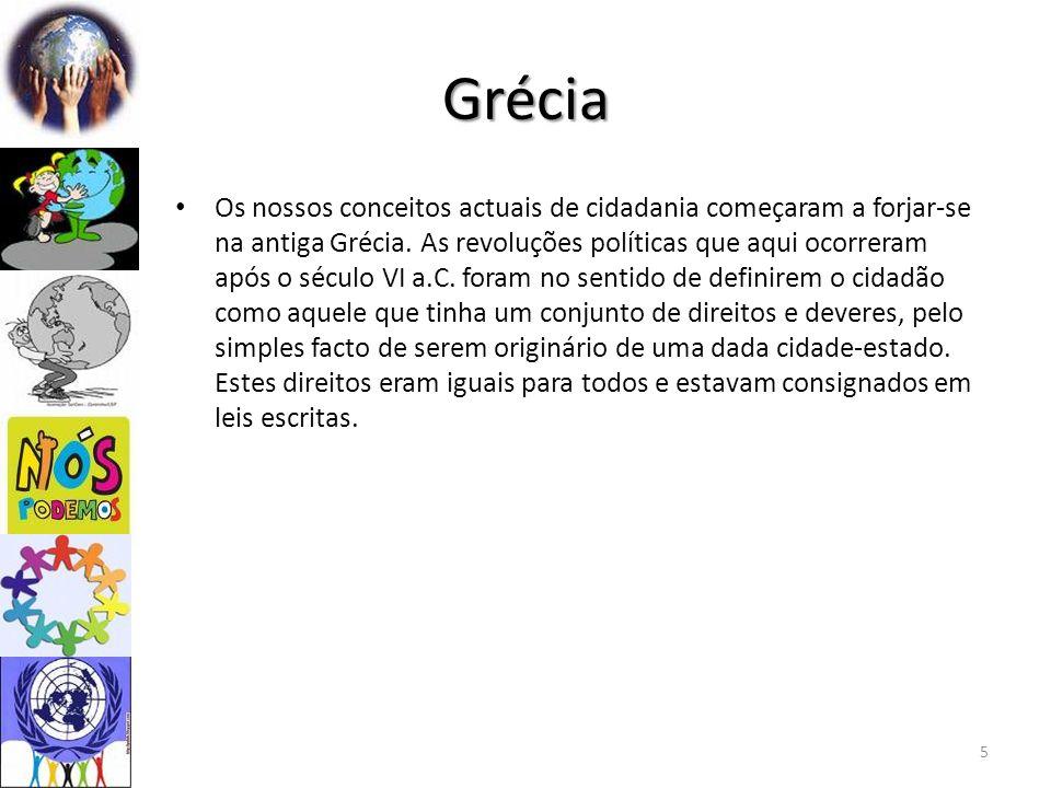 Grécia Os nossos conceitos actuais de cidadania começaram a forjar-se na antiga Grécia.