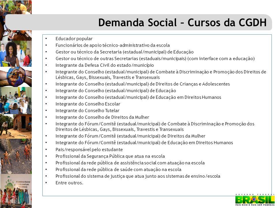 4 Demanda Social – Cursos da CGDH Educador popular Funcionários de apoio técnico-administrativo da escola Gestor ou técnico da Secretaria (estadual/mu
