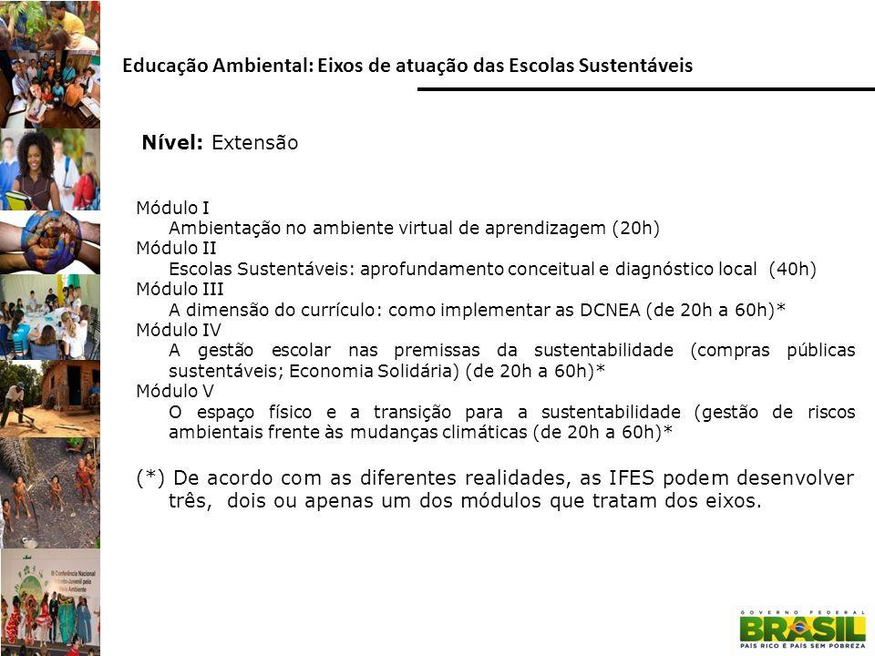 Nível: Extensão Educação Ambiental: Eixos de atuação das Escolas Sustentáveis Módulo I Ambientação no ambiente virtual de aprendizagem (20h) Módulo II