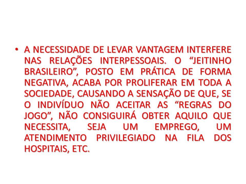 A NECESSIDADE DE LEVAR VANTAGEM INTERFERE NAS RELAÇÕES INTERPESSOAIS. O JEITINHO BRASILEIRO, POSTO EM PRÁTICA DE FORMA NEGATIVA, ACABA POR PROLIFERAR