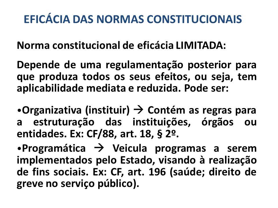 Norma constitucional de eficácia LIMITADA: Depende de uma regulamentação posterior para que produza todos os seus efeitos, ou seja, tem aplicabilidade mediata e reduzida.