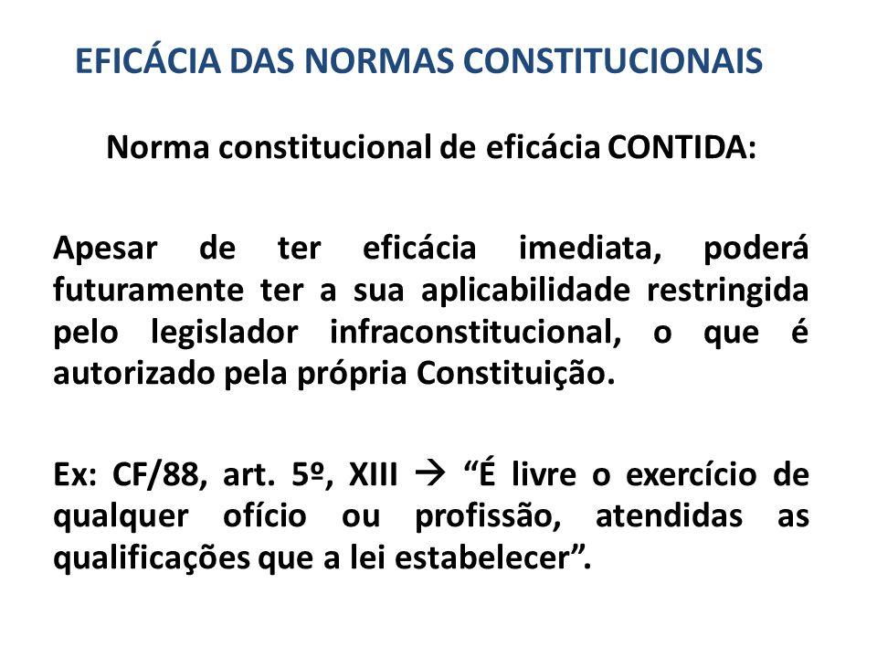 Norma constitucional de eficácia CONTIDA: Apesar de ter eficácia imediata, poderá futuramente ter a sua aplicabilidade restringida pelo legislador infraconstitucional, o que é autorizado pela própria Constituição.