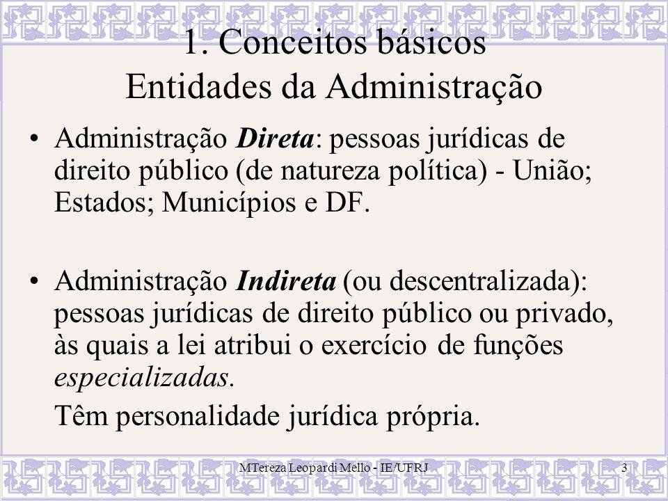 MTereza Leopardi Mello - IE/UFRJ4 Administração Indireta Autarquias; Fundações Públicas; Empresas Públicas; Sociedades de Economia Mista.