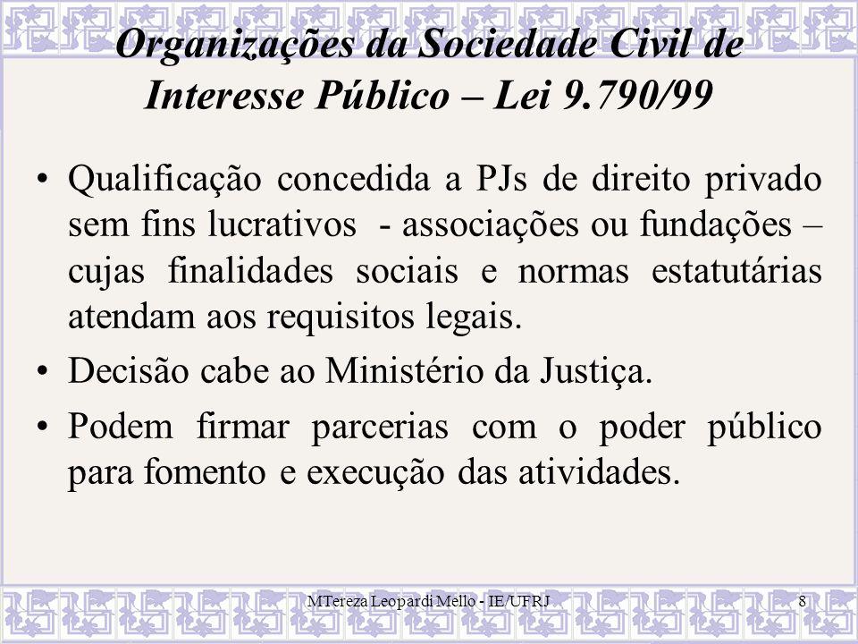 MTereza Leopardi Mello - IE/UFRJ29 O sistema legal de atribuição de riscos nos contratos de concessão Regra geral: atribui-se o risco comercial, técnico e econômico ao concessionário; os riscos extraordinários é atribuído ao poder público (Wald et al., 1996).
