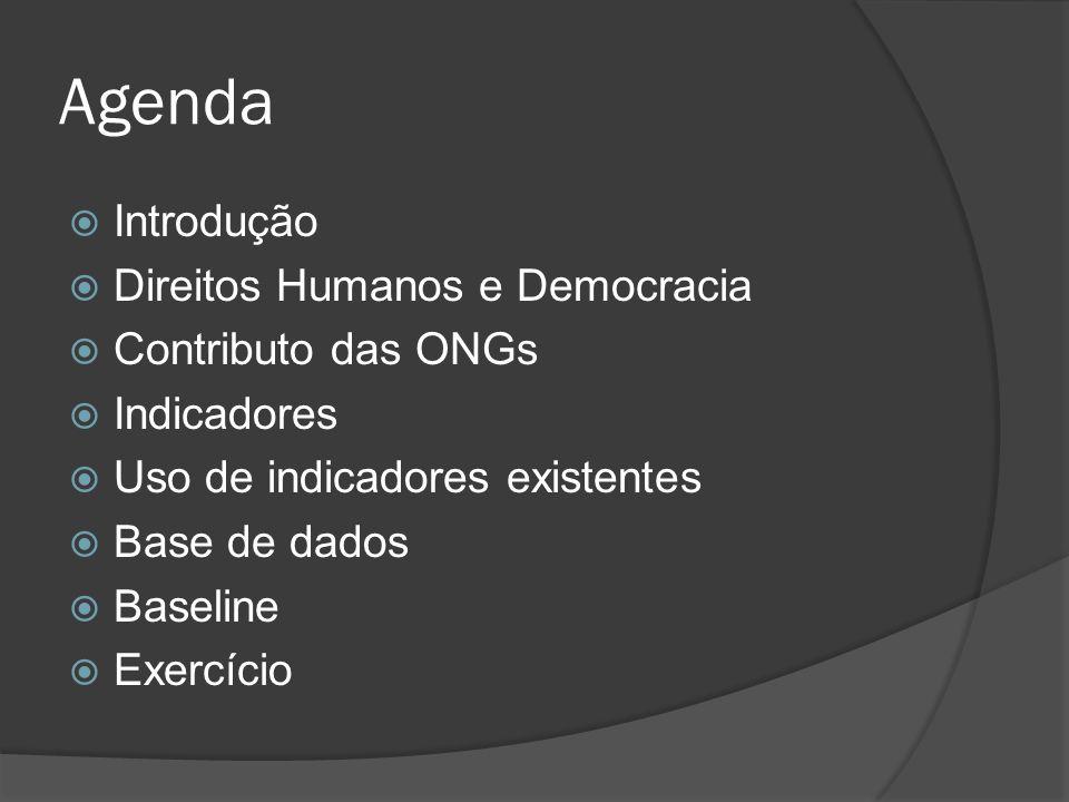 Agenda Introdução Direitos Humanos e Democracia Contributo das ONGs Indicadores Uso de indicadores existentes Base de dados Baseline Exercício