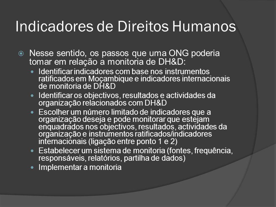 Indicadores de Direitos Humanos Nesse sentido, os passos que uma ONG poderia tomar em relação a monitoria de DH&D: Identificar indicadores com base nos instrumentos ratificados em Moçambique e indicadores internacionais de monitoria de DH&D Identificar os objectivos, resultados e actividades da organização relacionados com DH&D Escolher um número limitado de indicadores que a organização deseja e pode monitorar que estejam enquadrados nos objectivos, resultados, actividades da organização e instrumentos ratificados/indicadores internacionais (ligação entre ponto 1 e 2) Estabelecer um sistema de monitoria (fontes, frequência, responsáveis, relatórios, partilha de dados) Implementar a monitoria