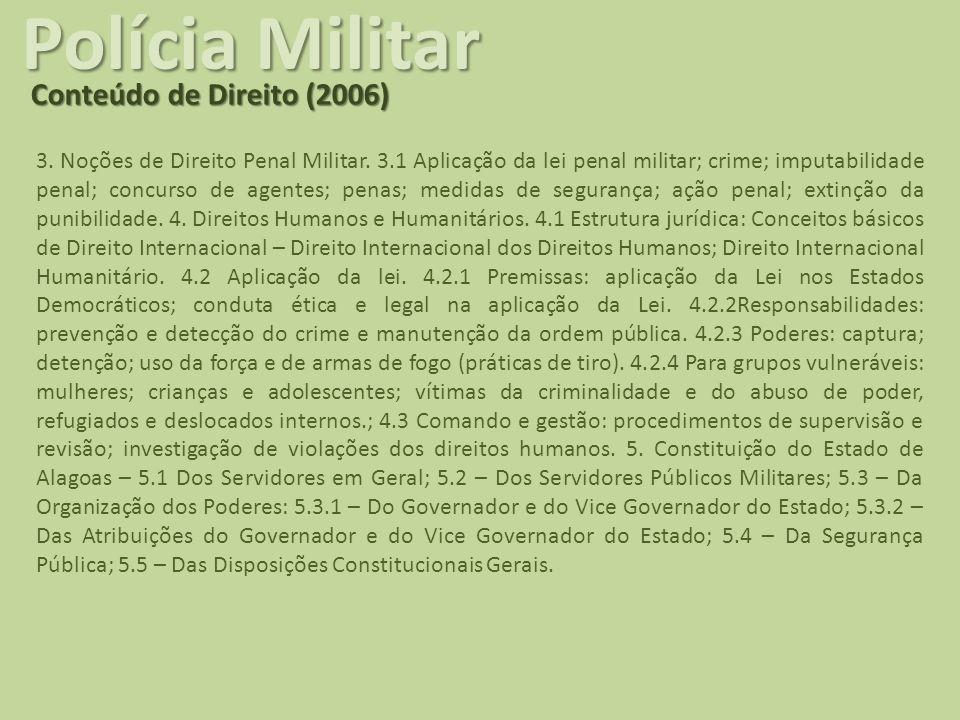 Polícia Militar Conteúdo de Direito (2006) 3. Noções de Direito Penal Militar. 3.1 Aplicação da lei penal militar; crime; imputabilidade penal; concur