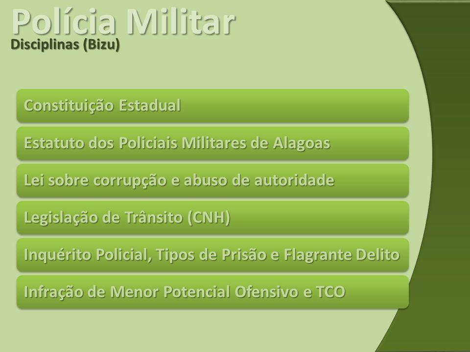 Polícia Militar Disciplinas (Bizu) Constituição Estadual Estatuto dos Policiais Militares de Alagoas Lei sobre corrupção e abuso de autoridade Legisla