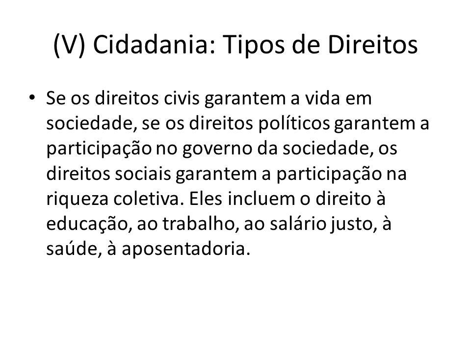 (V) Cidadania: Tipos de Direitos Se os direitos civis garantem a vida em sociedade, se os direitos políticos garantem a participação no governo da sociedade, os direitos sociais garantem a participação na riqueza coletiva.
