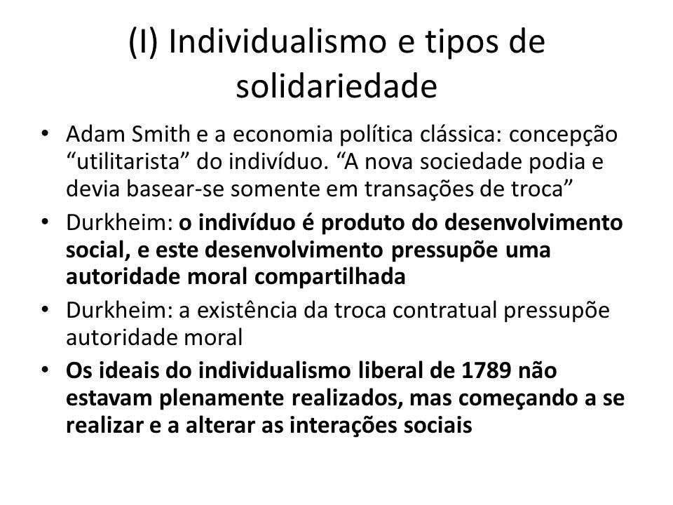 (I) Individualismo e tipos de solidariedade Adam Smith e a economia política clássica: concepção utilitarista do indivíduo.