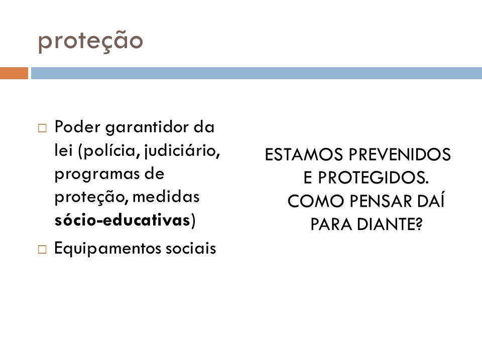 proteção Poder garantidor da lei (polícia, judiciário, programas de proteção, medidas sócio-educativas) Equipamentos sociais ESTAMOS PREVENIDOS E PROT