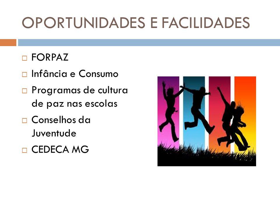 OPORTUNIDADES E FACILIDADES FORPAZ Infância e Consumo Programas de cultura de paz nas escolas Conselhos da Juventude CEDECA MG