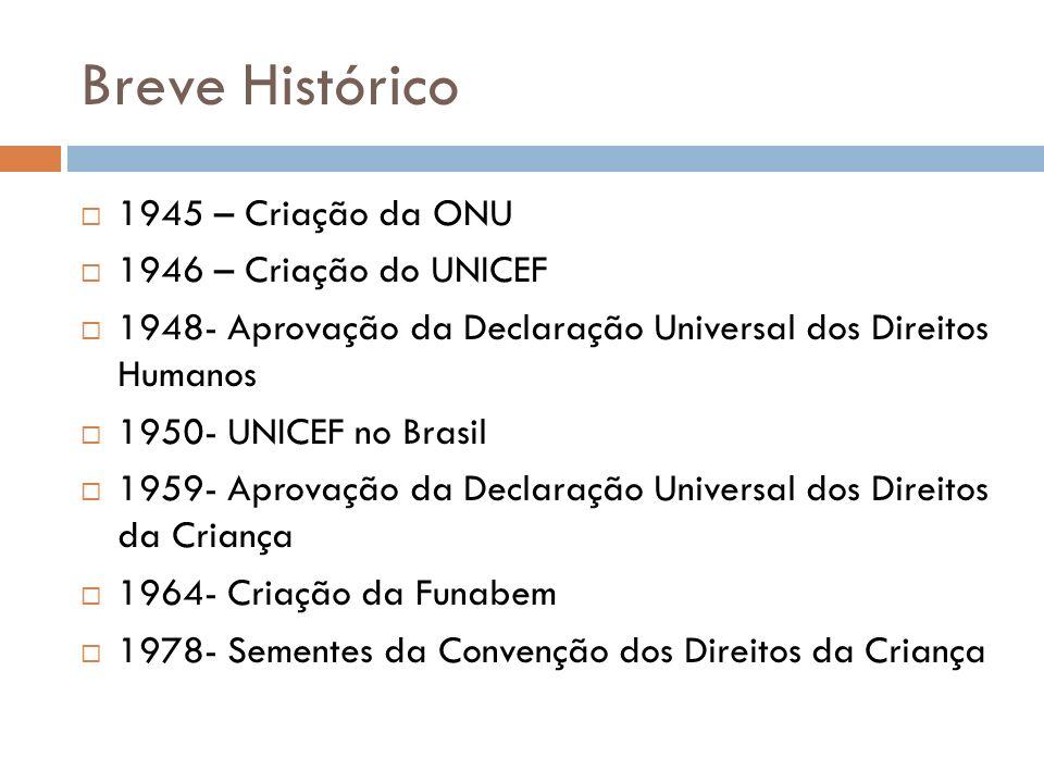 Breve Histórico 1945 – Criação da ONU 1946 – Criação do UNICEF 1948- Aprovação da Declaração Universal dos Direitos Humanos 1950- UNICEF no Brasil 195