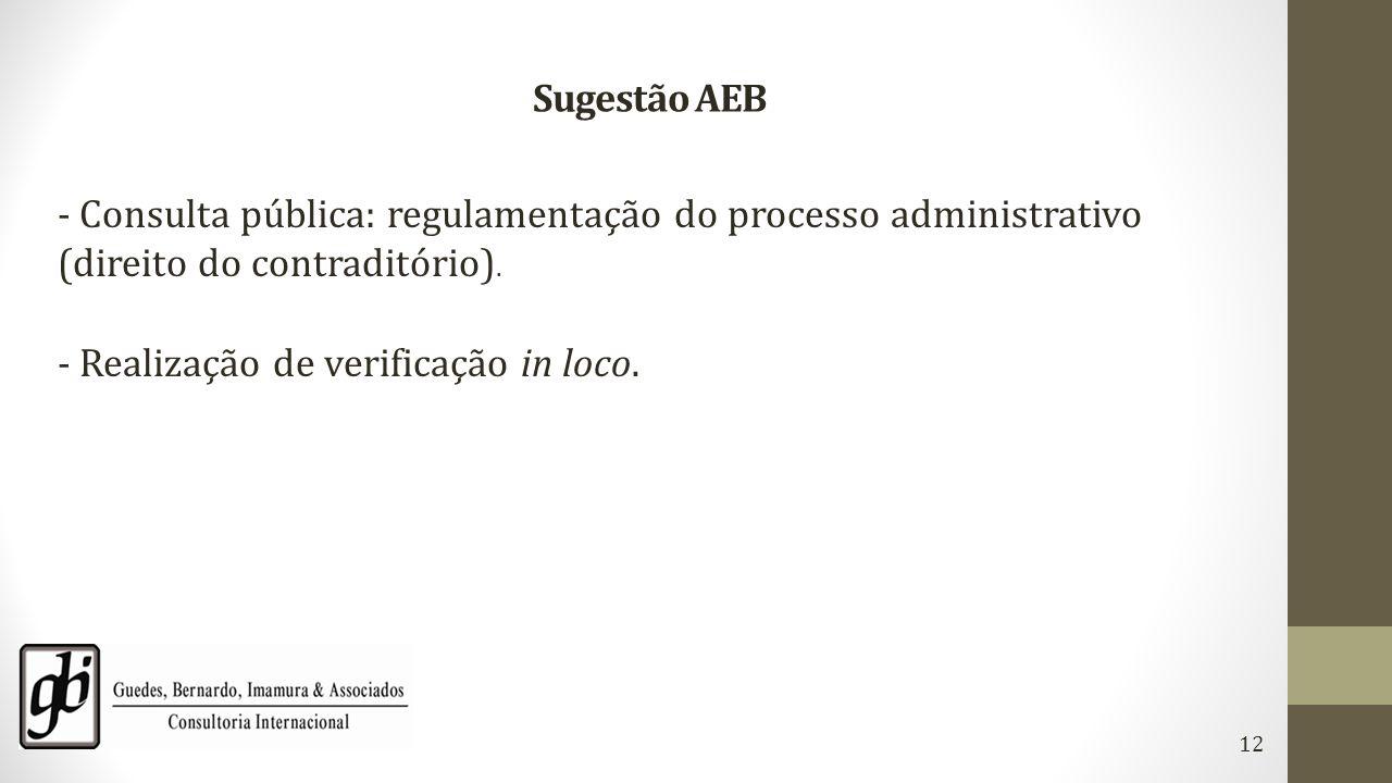 Sugestão AEB - Consulta pública: regulamentação do processo administrativo (direito do contraditório). - Realização de verificação in loco. 12