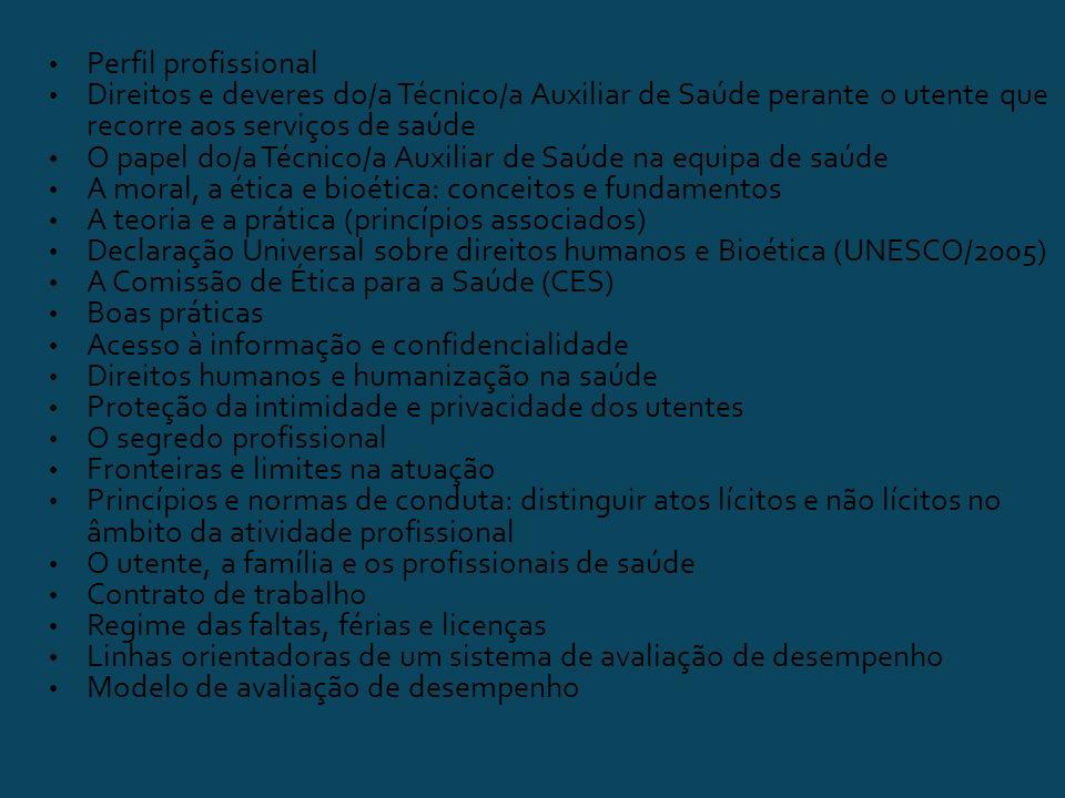 Perfil profissional Direitos e deveres do/a Técnico/a Auxiliar de Saúde perante o utente que recorre aos serviços de saúde O papel do/a Técnico/a Auxiliar de Saúde na equipa de saúde A moral, a ética e bioética: conceitos e fundamentos A teoria e a prática (princípios associados) Declaração Universal sobre direitos humanos e Bioética (UNESCO/2005) A Comissão de Ética para a Saúde (CES) Boas práticas Acesso à informação e confidencialidade Direitos humanos e humanização na saúde Proteção da intimidade e privacidade dos utentes O segredo profissional Fronteiras e limites na atuação Princípios e normas de conduta: distinguir atos lícitos e não lícitos no âmbito da atividade profissional O utente, a família e os profissionais de saúde Contrato de trabalho Regime das faltas, férias e licenças Linhas orientadoras de um sistema de avaliação de desempenho Modelo de avaliação de desempenho