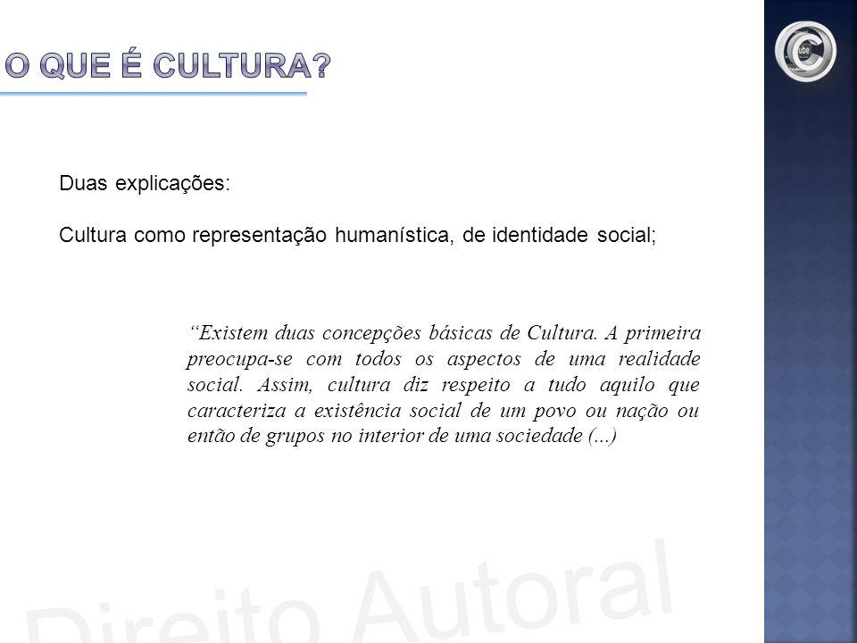 Duas explicações: Cultura como representação humanística, de identidade social; Existem duas concepções básicas de Cultura. A primeira preocupa-se com