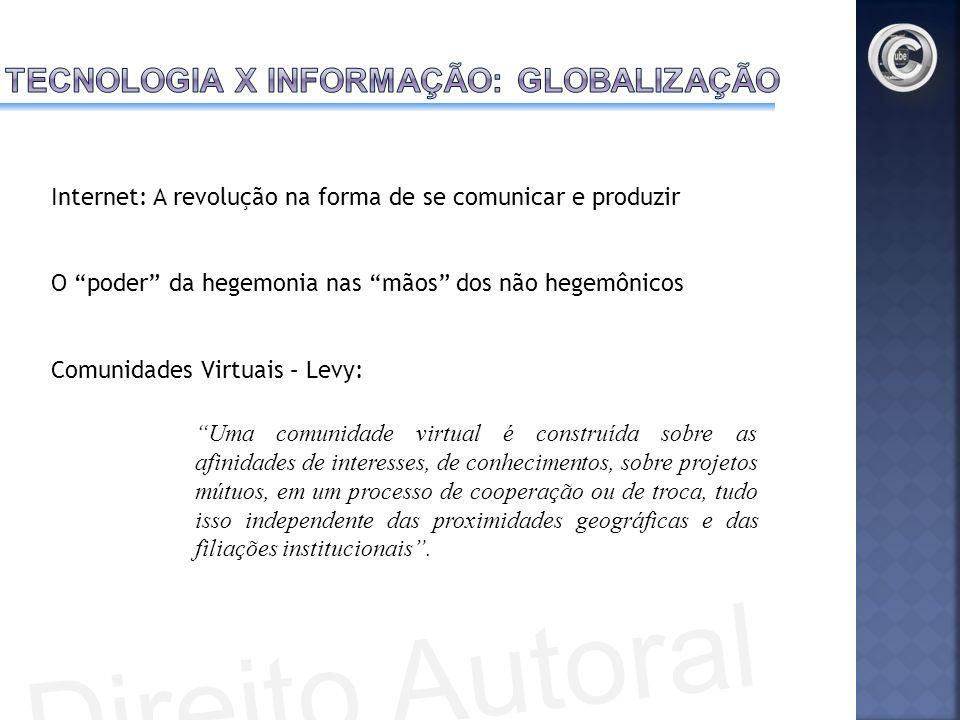 Internet: A revolução na forma de se comunicar e produzir O poder da hegemonia nas mãos dos não hegemônicos Comunidades Virtuais – Levy: Uma comunidad
