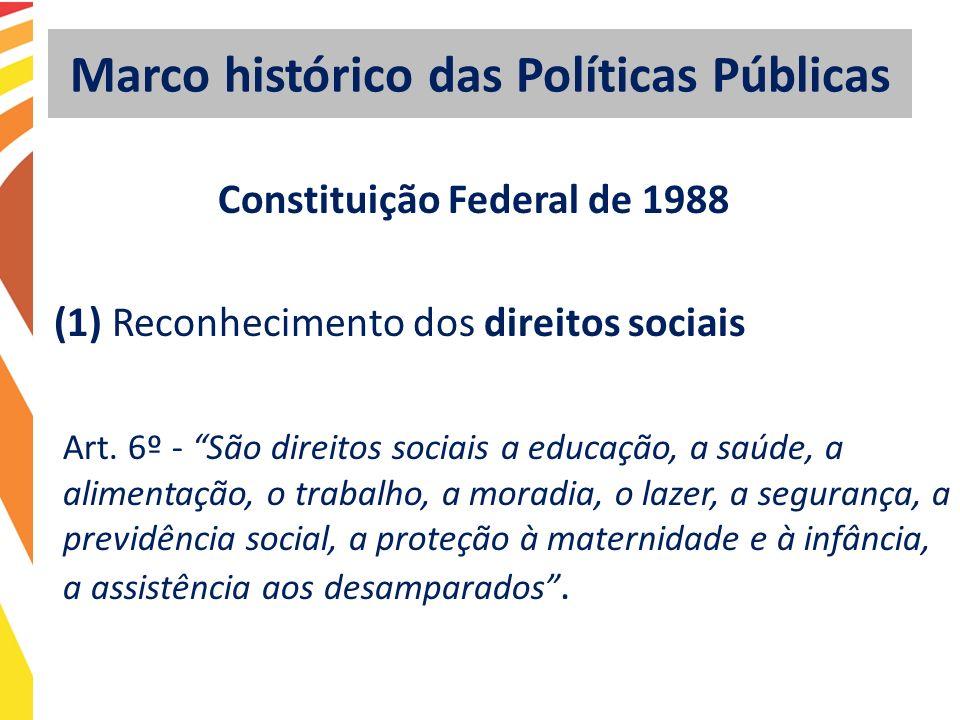 Marco histórico das Políticas Públicas Constituição Federal de 1988 (1) Reconhecimento dos direitos sociais Art. 6º - São direitos sociais a educação,