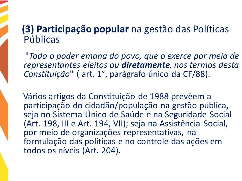 (3) Participação popular na gestão das Políticas Públicas