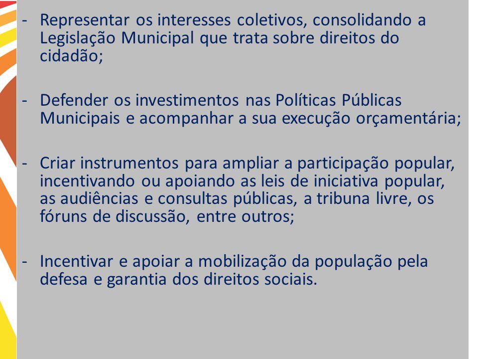 -Representar os interesses coletivos, consolidando a Legislação Municipal que trata sobre direitos do cidadão; -Defender os investimentos nas Política