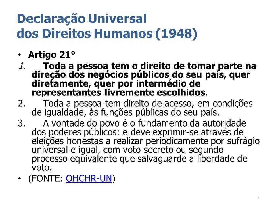 Declaração Universal dos Direitos Humanos (1948) Artigo 21° 1. Toda a pessoa tem o direito de tomar parte na direção dos negócios públicos do seu país