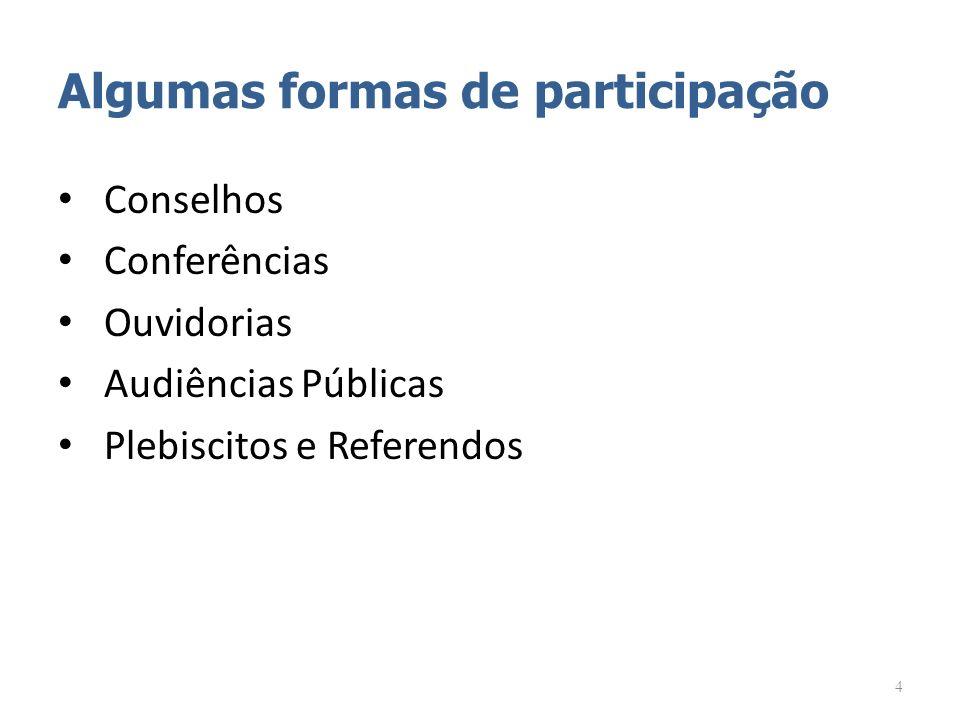 Algumas formas de participação Conselhos Conferências Ouvidorias Audiências Públicas Plebiscitos e Referendos 4