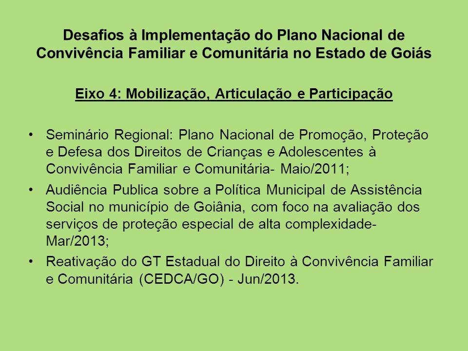 Desafios à Implementação do Plano Nacional de Convivência Familiar e Comunitária no Estado de Goiás Eixo 4: Mobilização, Articulação e Participação Se