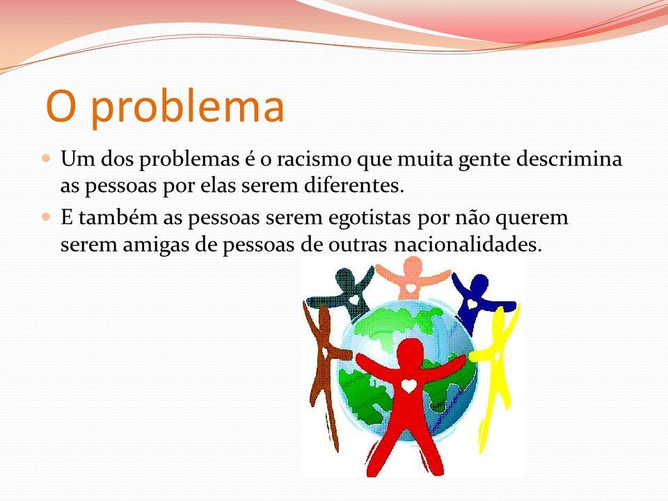 O problema Um dos problemas é o racismo que muita gente descrimina as pessoas por elas serem diferentes.