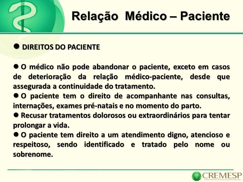 Relação Médico – Paciente DIREITOS DO PACIENTE DIREITOS DO PACIENTE O médico não pode abandonar o paciente, exceto em casos de deterioração da relação