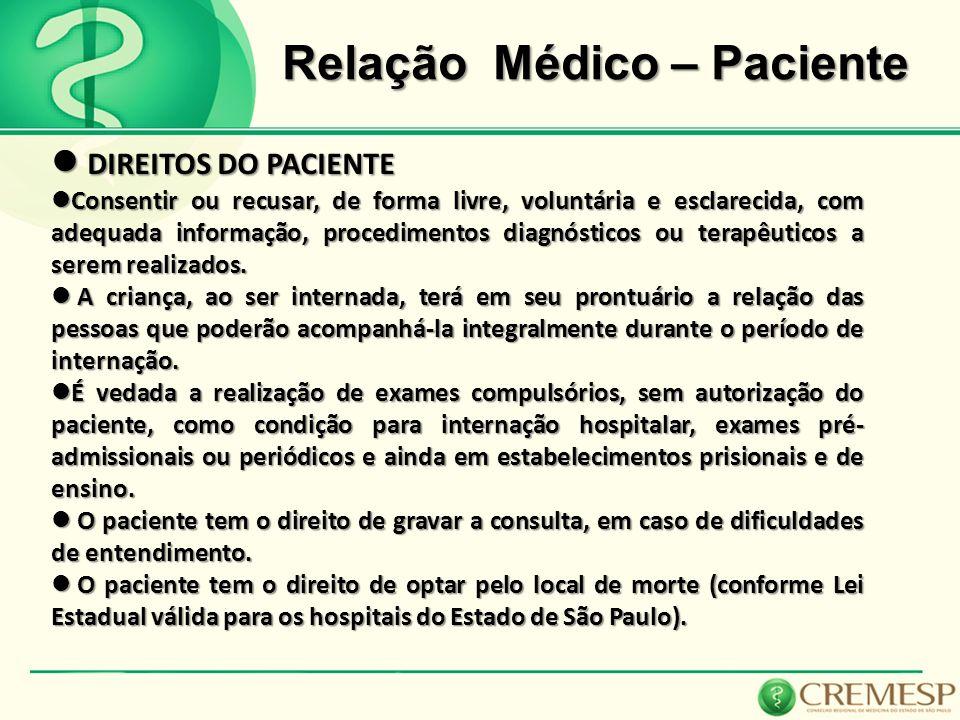 Relação Médico – Paciente DIREITOS DO PACIENTE DIREITOS DO PACIENTE Consentir ou recusar, de forma livre, voluntária e esclarecida, com adequada infor