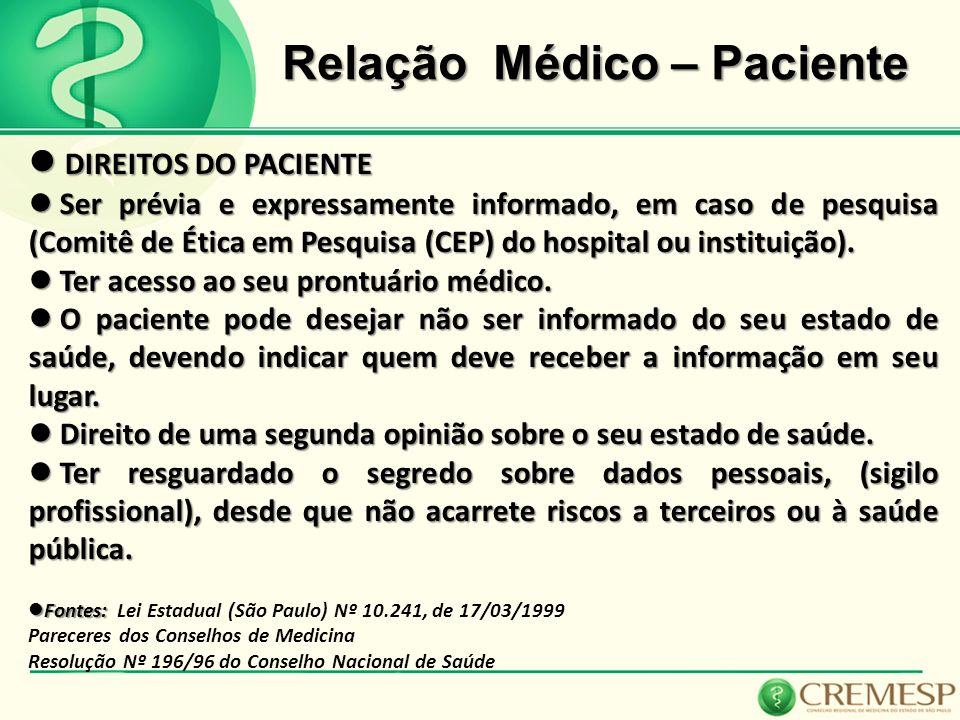 Relação Médico – Paciente DIREITOS DO PACIENTE DIREITOS DO PACIENTE Ser prévia e expressamente informado, em caso de pesquisa (Comitê de Ética em Pesq