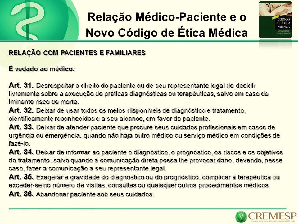 Relação Médico-Paciente e o Novo Código de Ética Médica RELAÇÃO COM PACIENTES E FAMILIARES É vedado ao médico: Art. 31. Desrespeitar o direito do paci