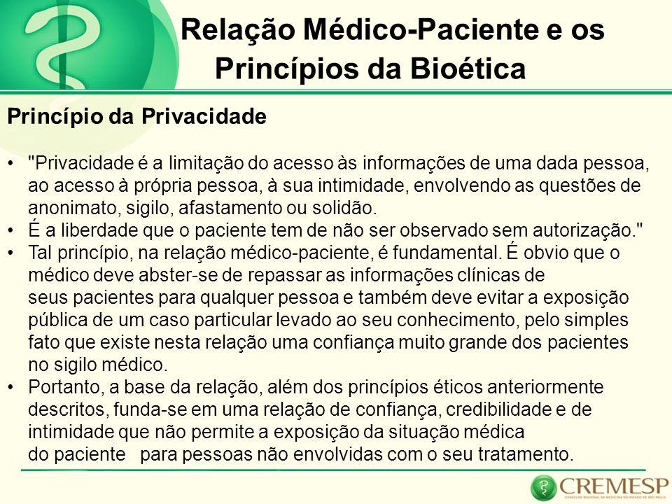 Relação Médico-Paciente e os Princípios da Bioética Princípio da Privacidade