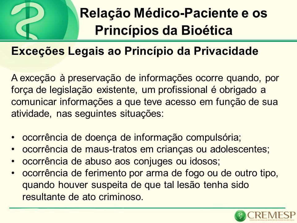 Relação Médico-Paciente e os Princípios da Bioética Exceções Legais ao Princípio da Privacidade A exceção à preservação de informações ocorre quando,