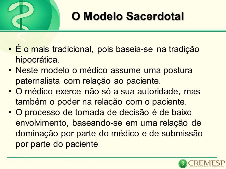 O Modelo Sacerdotal É o mais tradicional, pois baseia-se na tradição hipocrática. Neste modelo o médico assume uma postura paternalista com relação ao