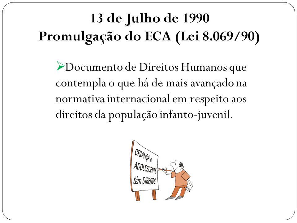 13 de Julho de 1990 Promulgação do ECA (Lei 8.069/90) Documento de Direitos Humanos que contempla o que há de mais avançado na normativa internacional