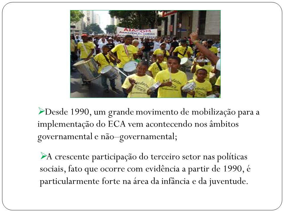 Desde 1990, um grande movimento de mobilização para a implementação do ECA vem acontecendo nos âmbitos governamental e não–governamental; A crescente