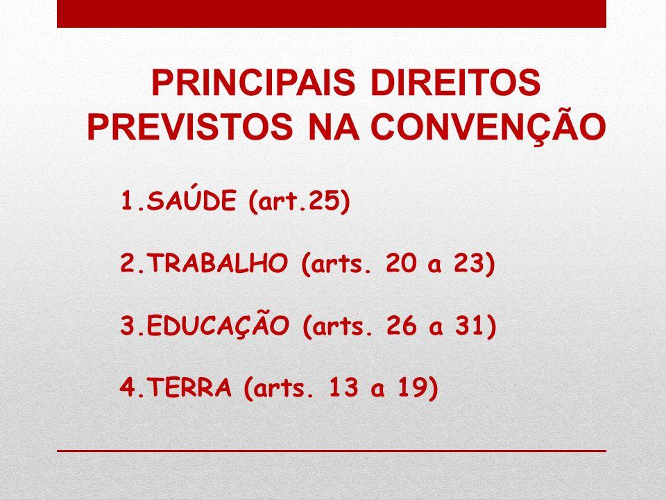 PRINCIPAIS DIREITOS PREVISTOS NA CONVENÇÃO 1.SAÚDE (art.25) 2.TRABALHO (arts. 20 a 23) 3.EDUCAÇÃO (arts. 26 a 31) 4.TERRA (arts. 13 a 19)