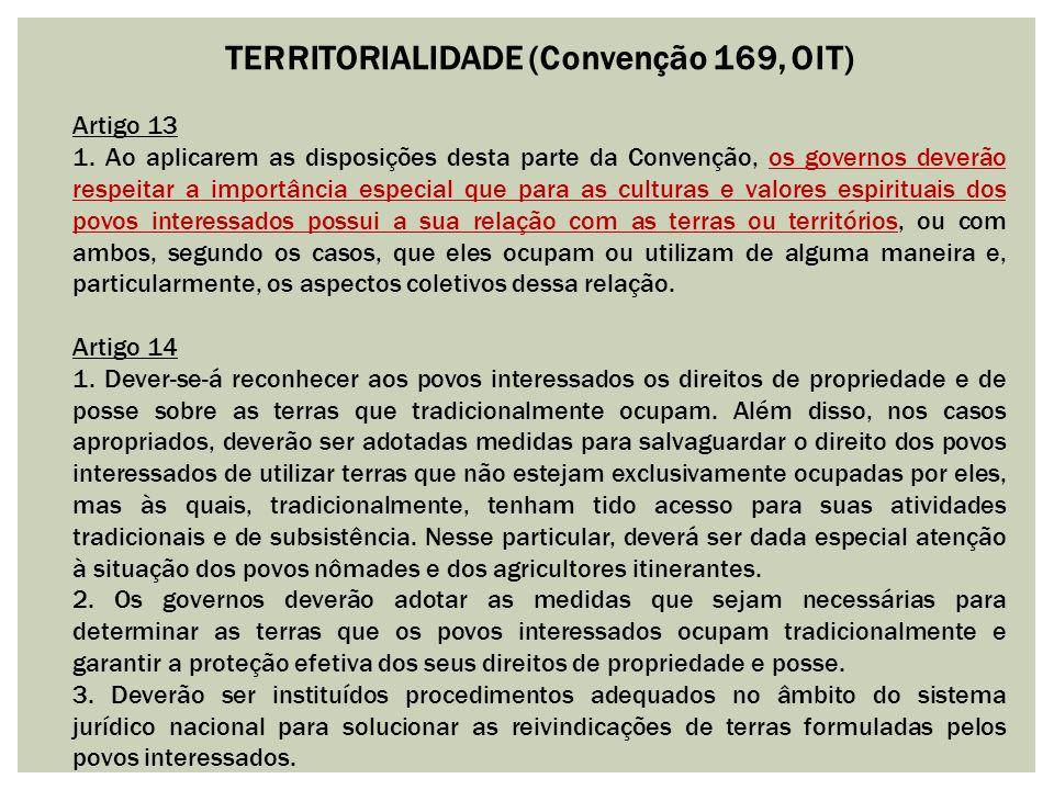 TERRITORIALIDADE (Convenção 169, OIT) Artigo 13 1. Ao aplicarem as disposições desta parte da Convenção, os governos deverão respeitar a importância e