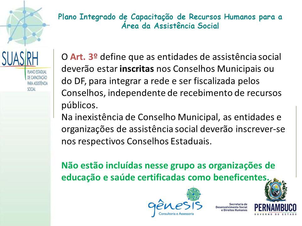 O Art. 3º define que as entidades de assistência social deverão estar inscritas nos Conselhos Municipais ou do DF, para integrar a rede e ser fiscaliz
